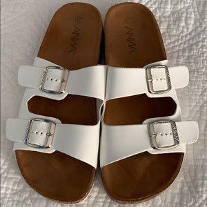 White cork bottom Birkenstock like sandals
